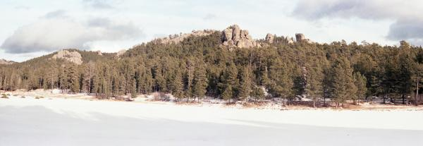 Panorama of Granite Scarp and Snowfield in Black Hills, South Dakota