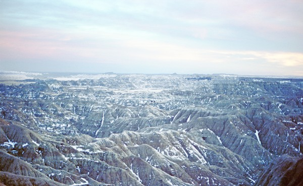 Traces of Snow in the Badlands